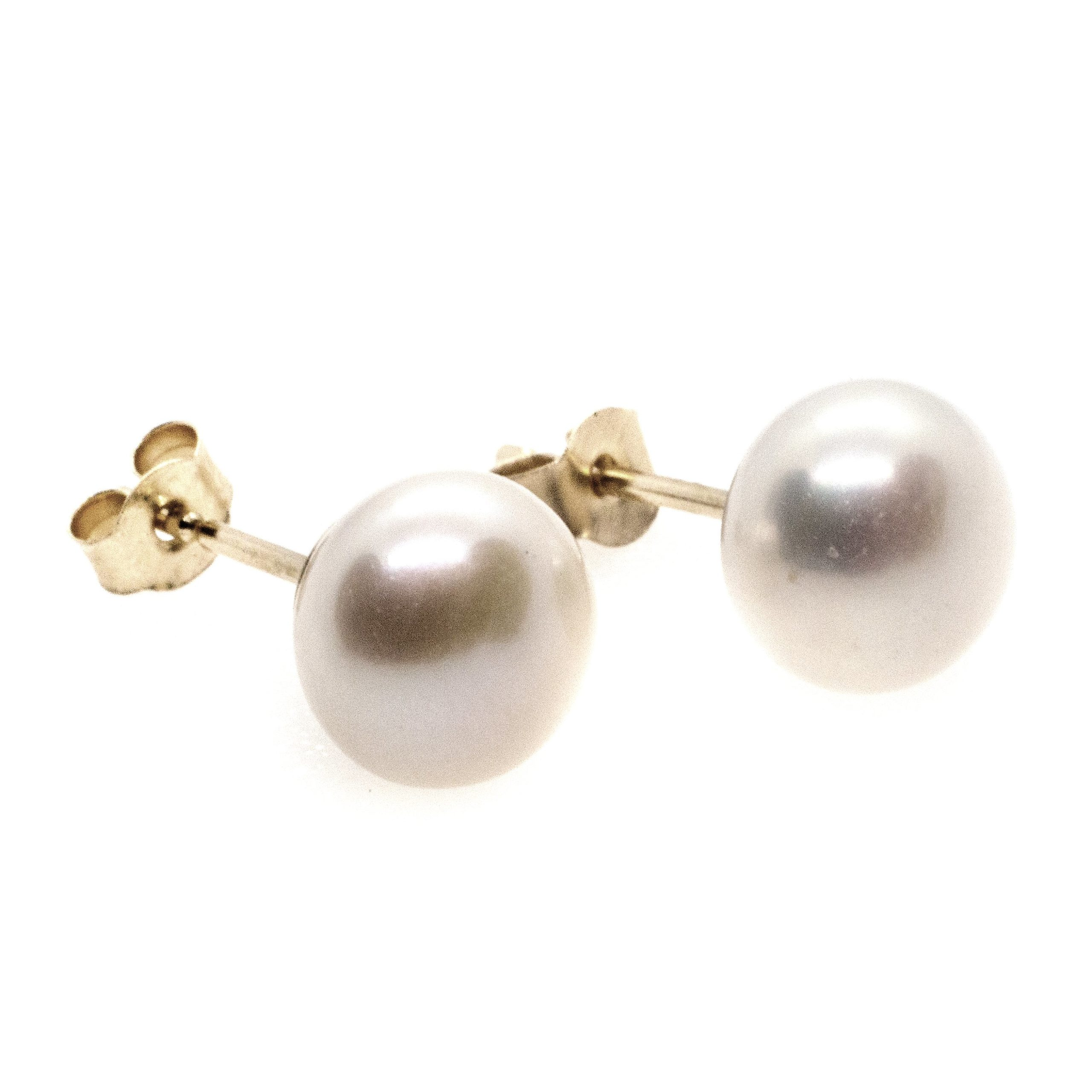 7mm fresh water pearl stud earrings 9ct yellow gold