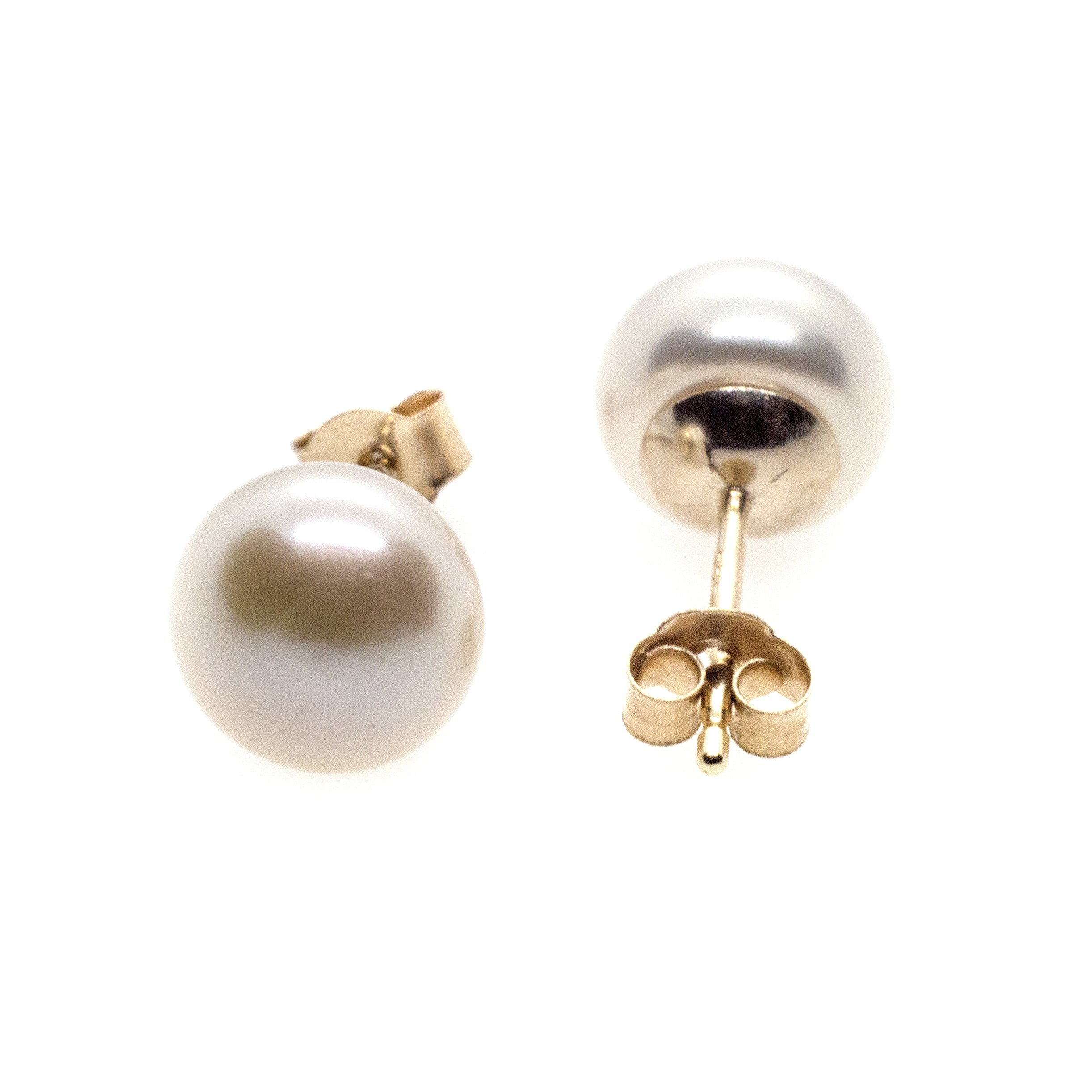 7mm fresh water pearl stud earrings 9ct yellow gold alt 6