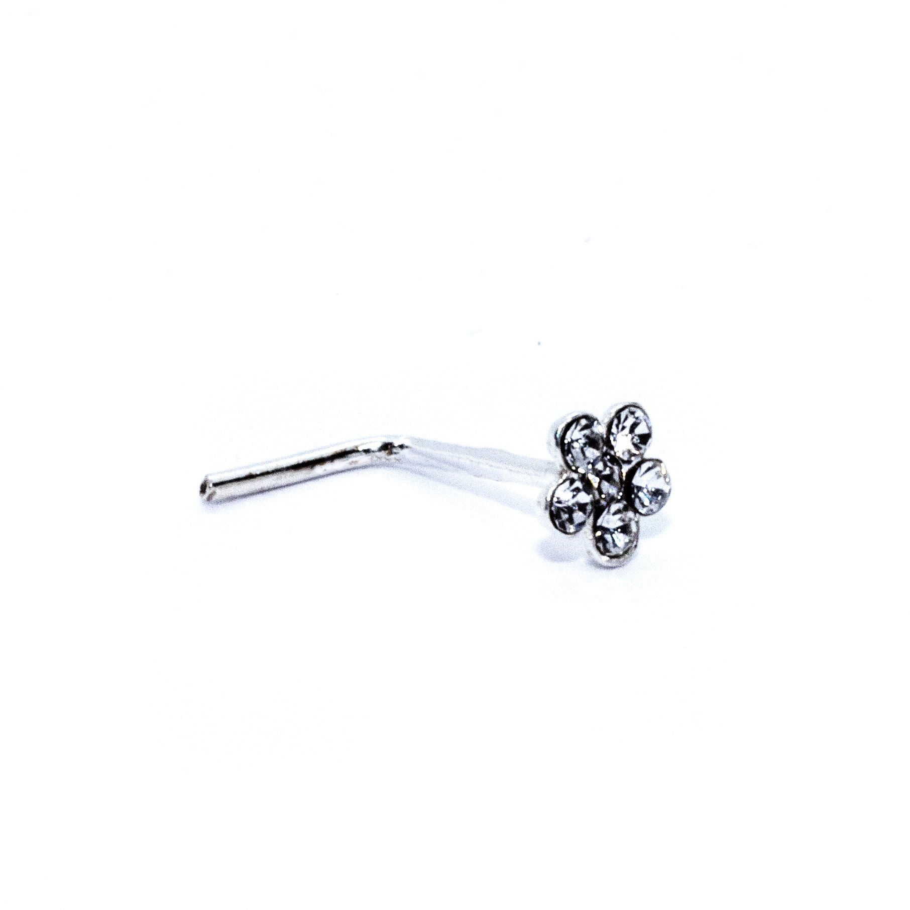 Crystal flower nose stud in sterling silver