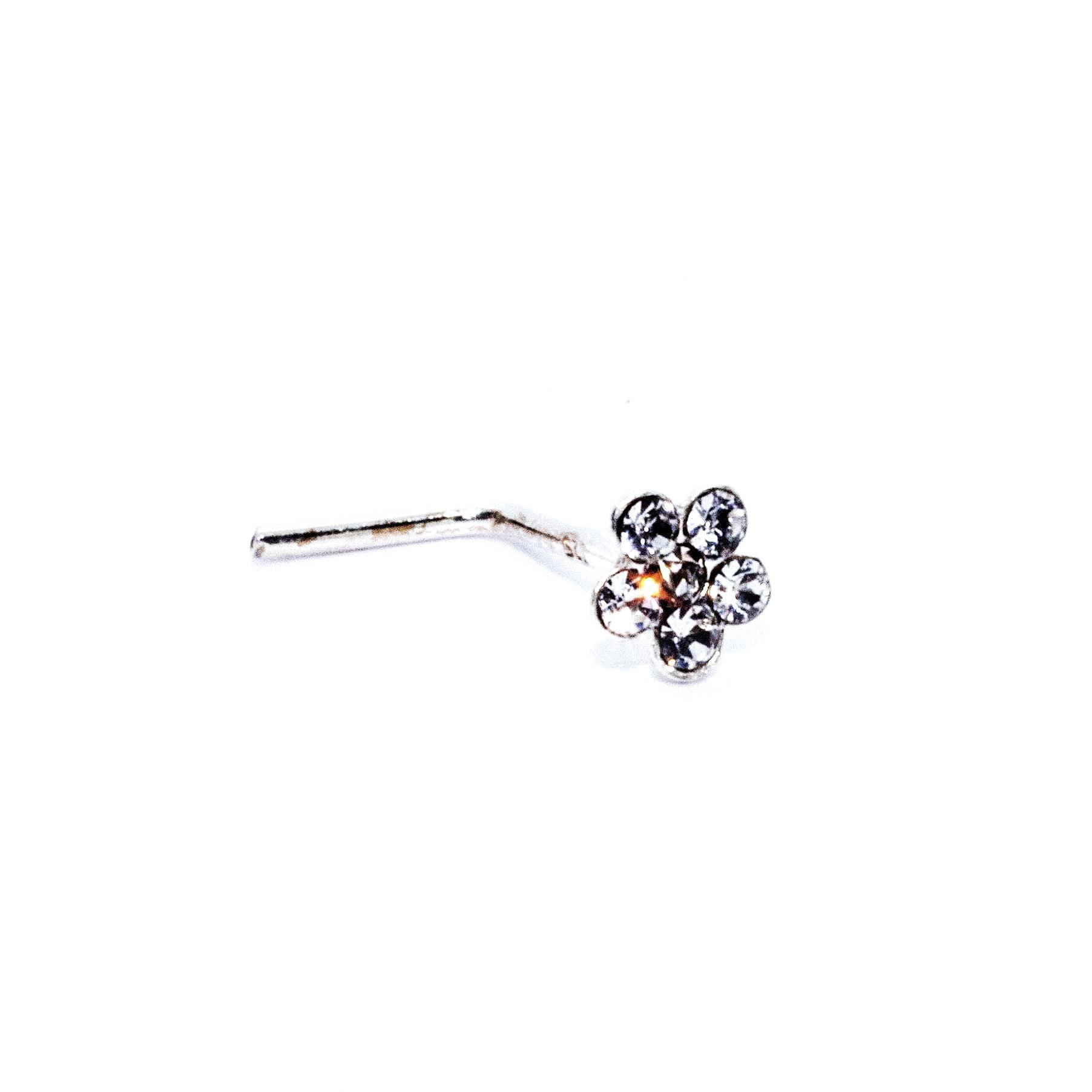 Crystal flower nose stud in sterling silver (alt3)
