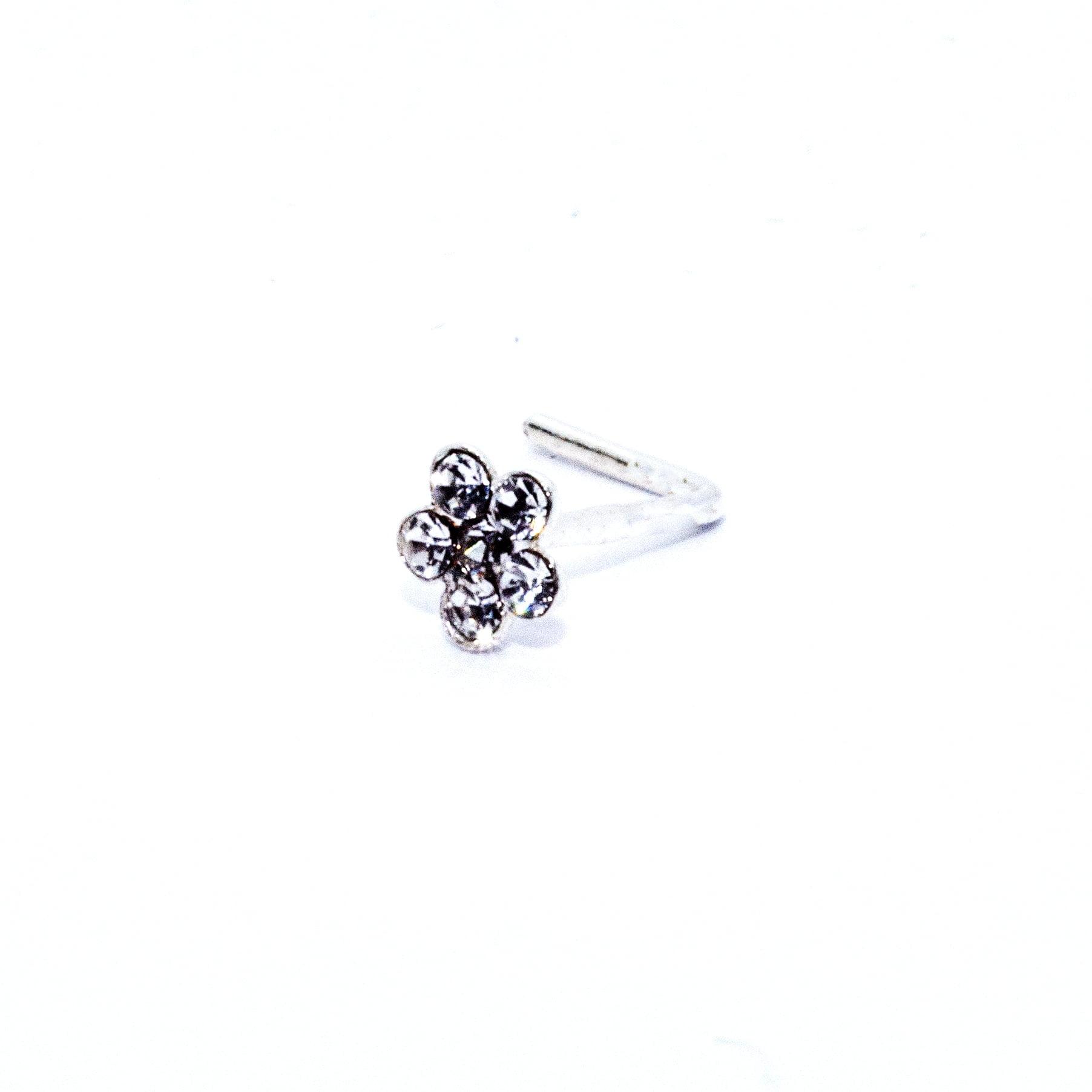 Crystal flower nose stud in sterling silver (alt1)