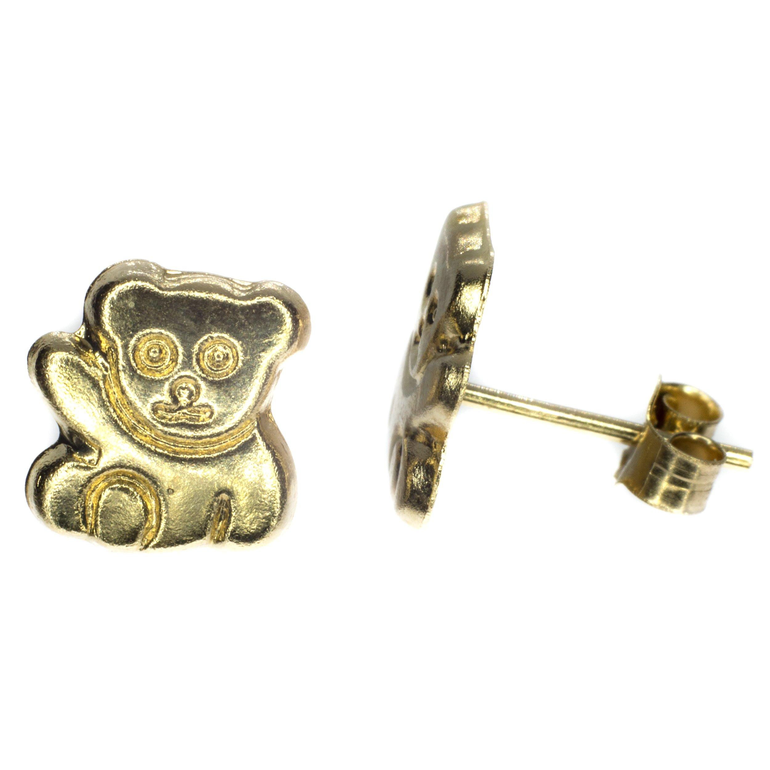teddy bear stud earrings 9ct gold alt 2