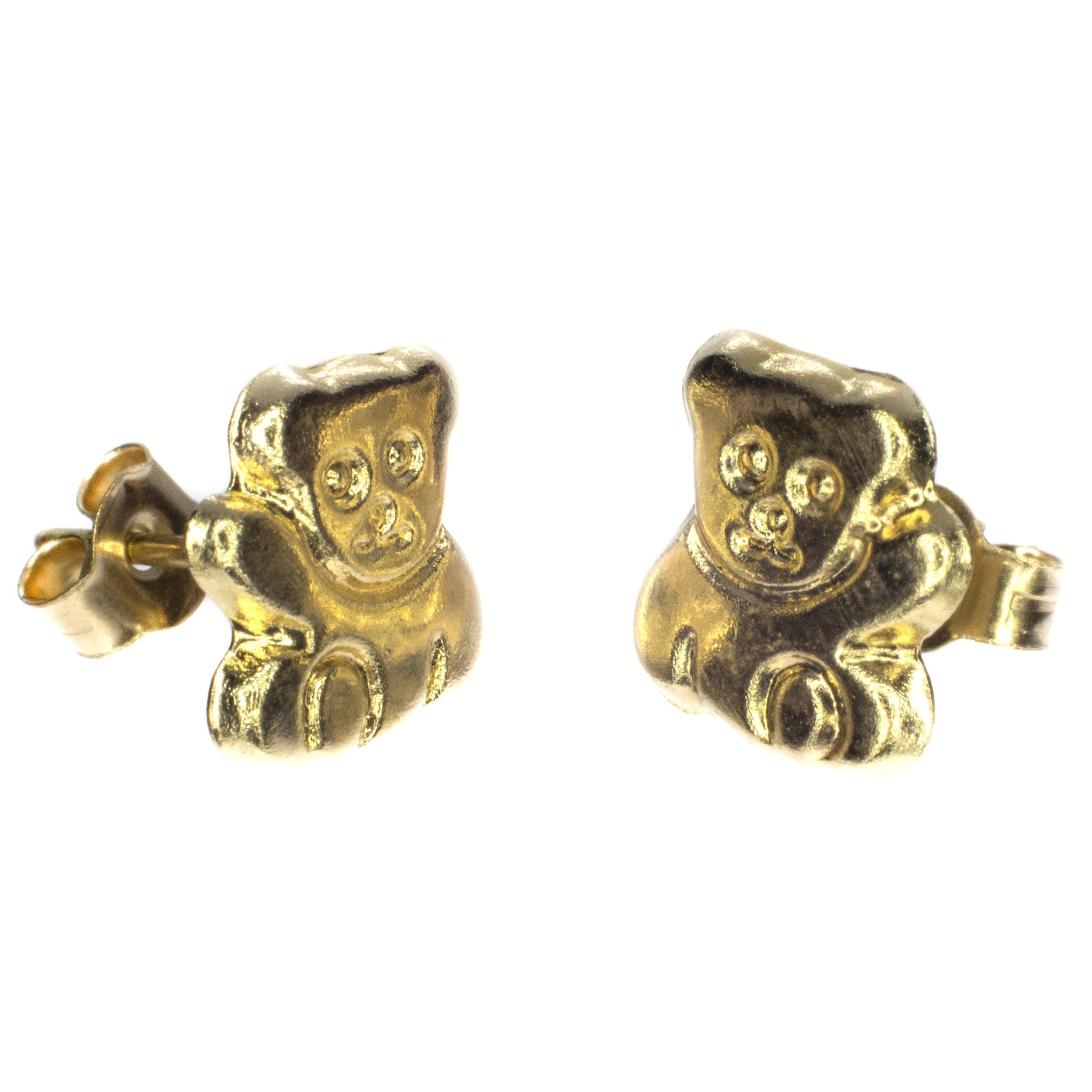 teddy bear stud earrings 9ct gold alt 1