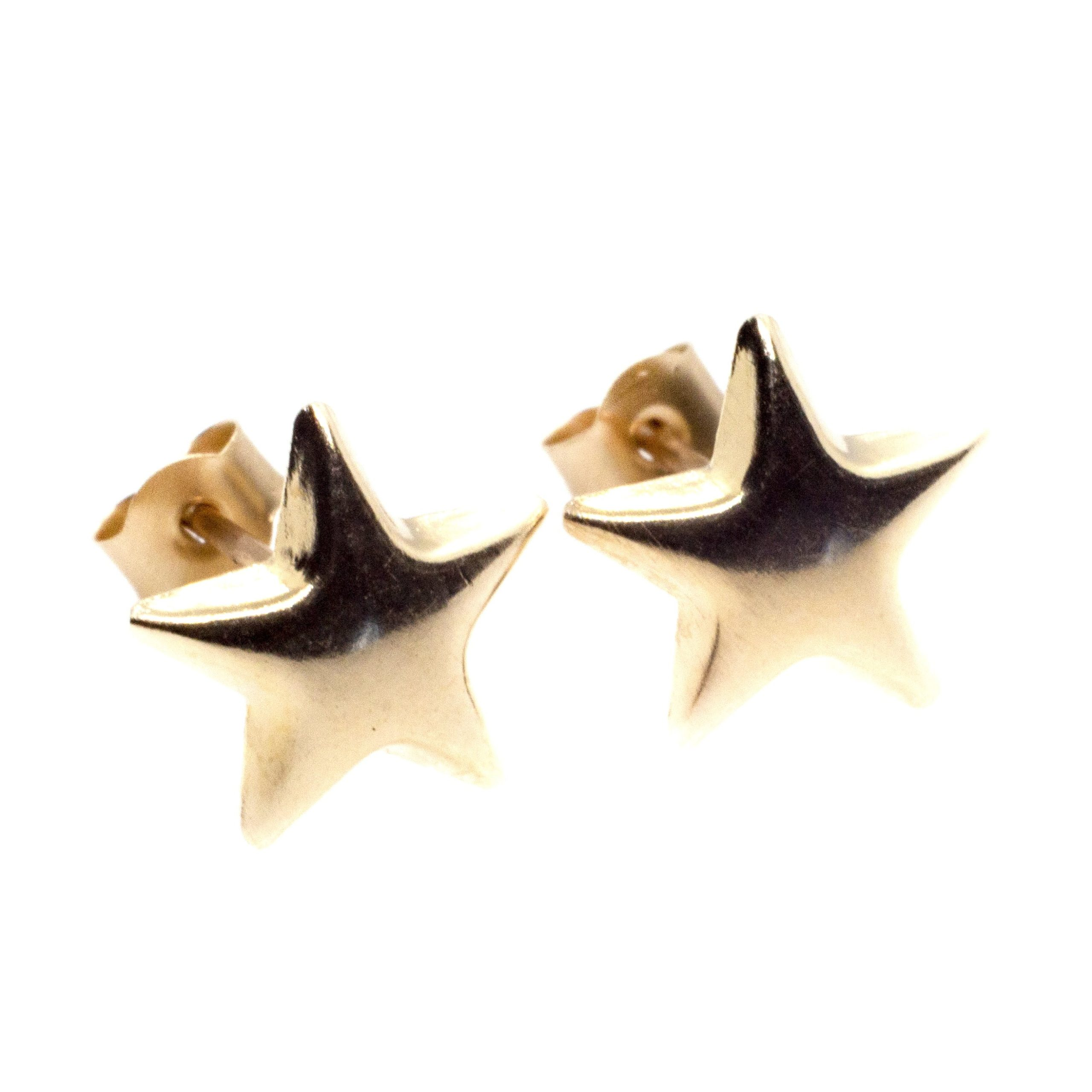 9ct gold star earrings pair