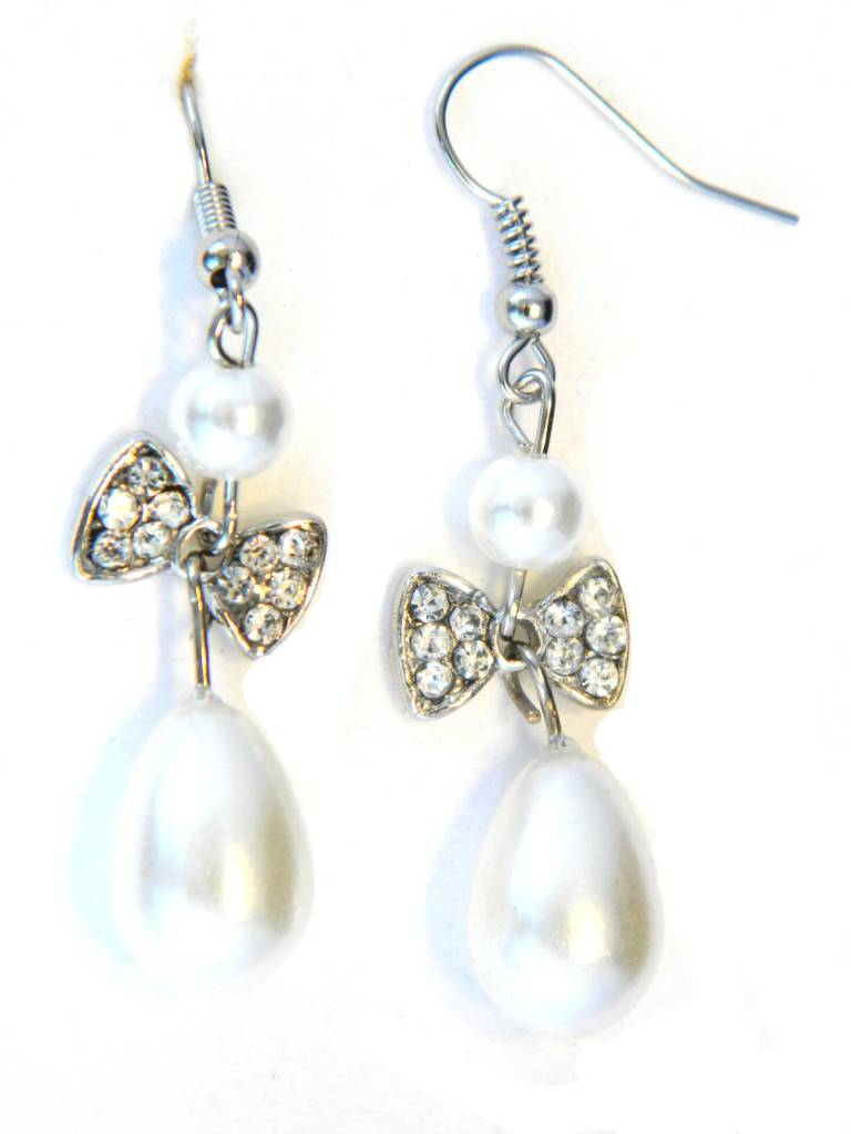 Pearl And Crystal Bow Drop Earrings In Silver Plate