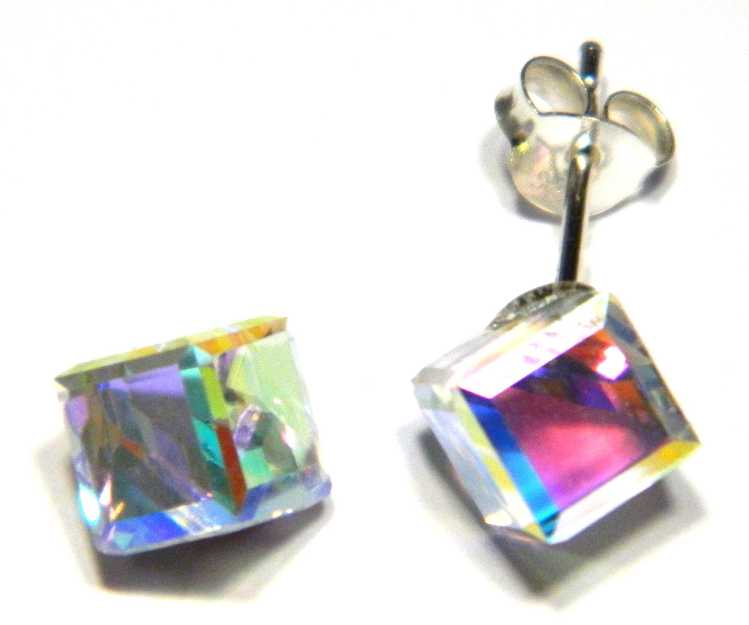 f6602b96268eb 6 mm cube aurora borealis crystal stud earrings in sterling silver