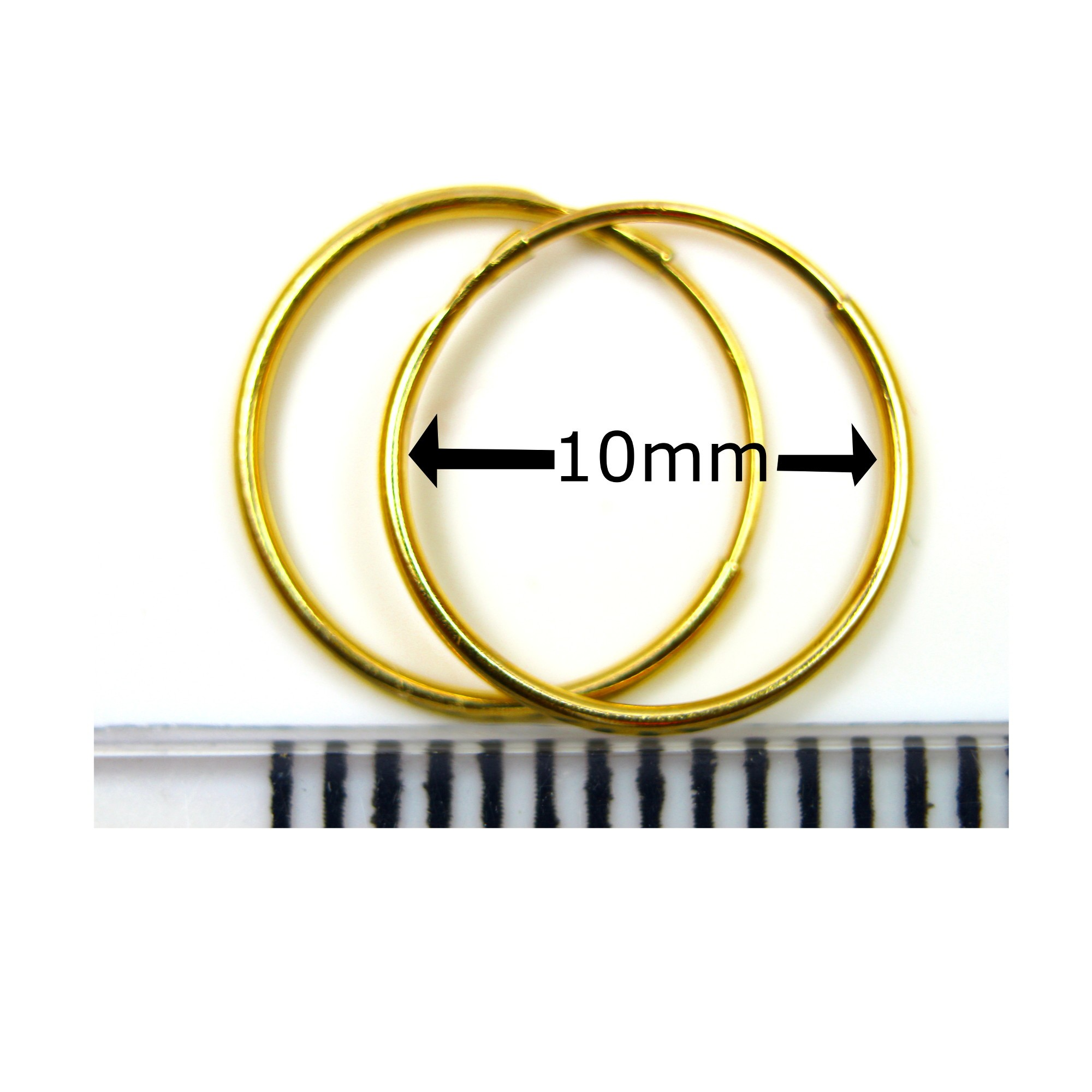 10 Mm Plain Sleeper Hoops 1 Pair In 9ct Yellow Gold