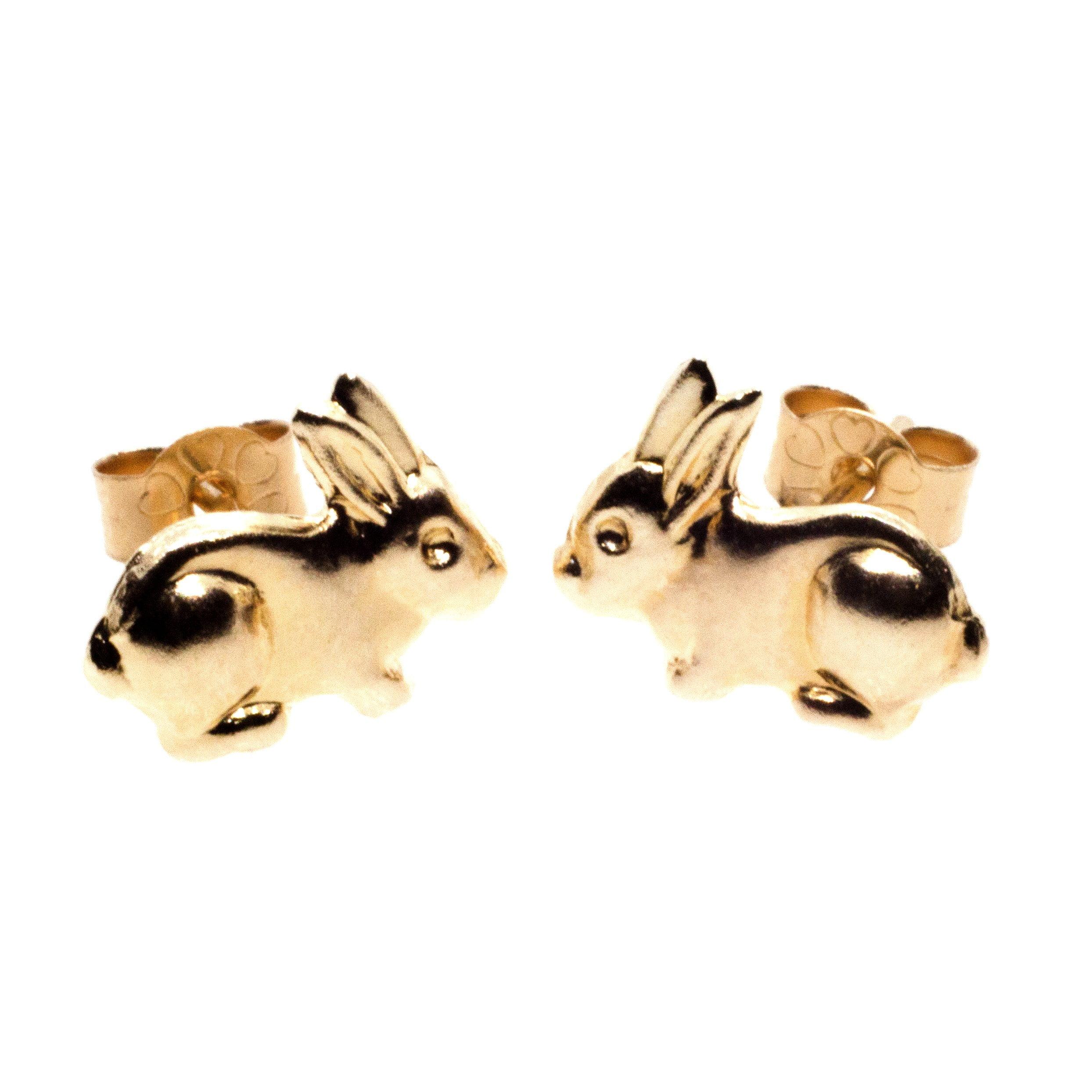 9ct gold rabbit earrings