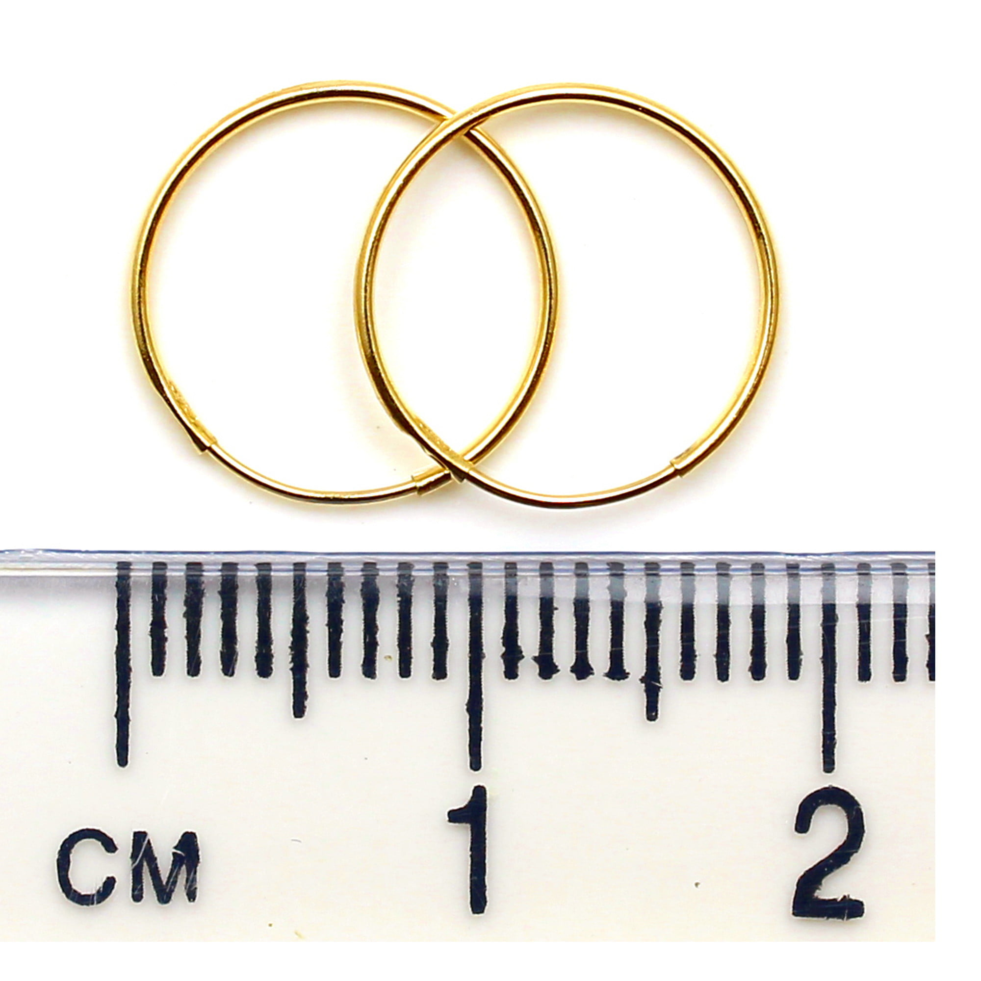 12mm gold hoops 9ct yellow gold ruler