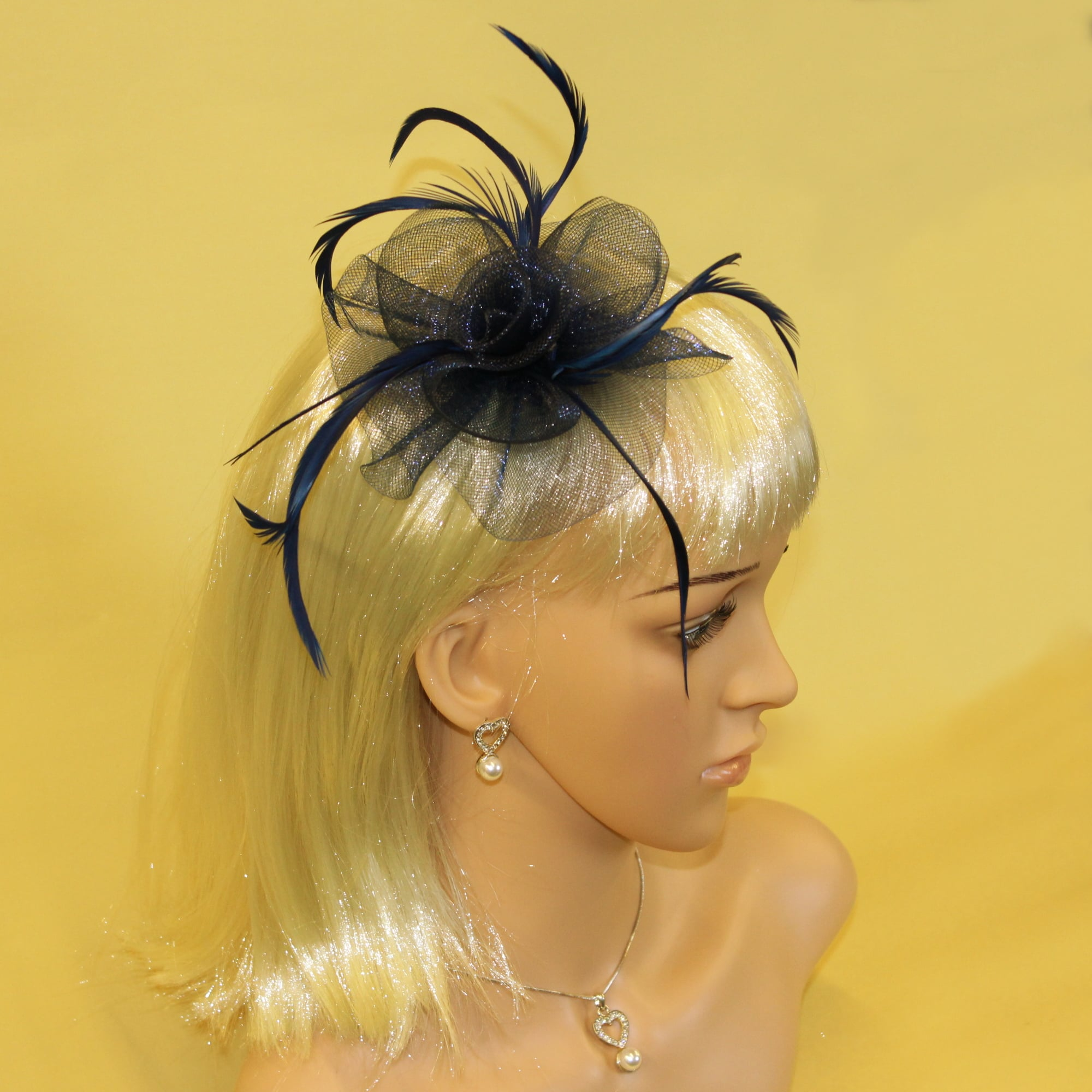 FASCINATORS FLOWER /& FEATHERS  IN 3 COLOURS ON A HAIR CLIP /& BROOCH PIN
