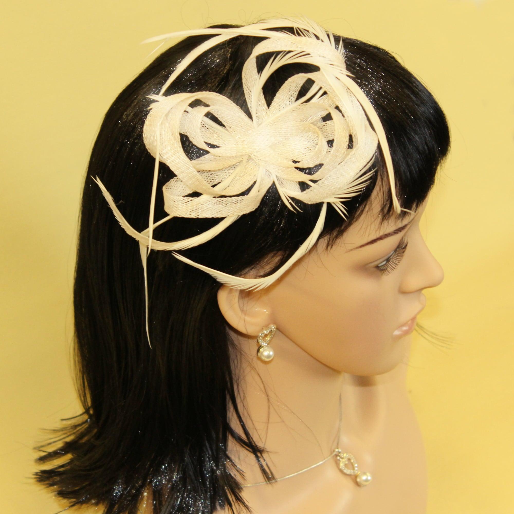 Cream Looped Hessian Net feather Fascinator with Beak Clip Brooch Pin Weddings