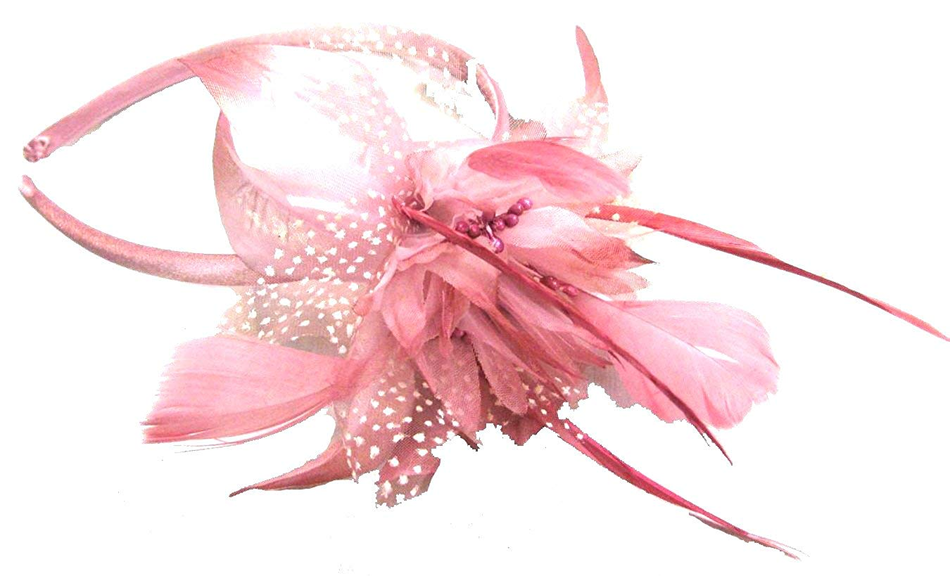 pink fascinator on hairband