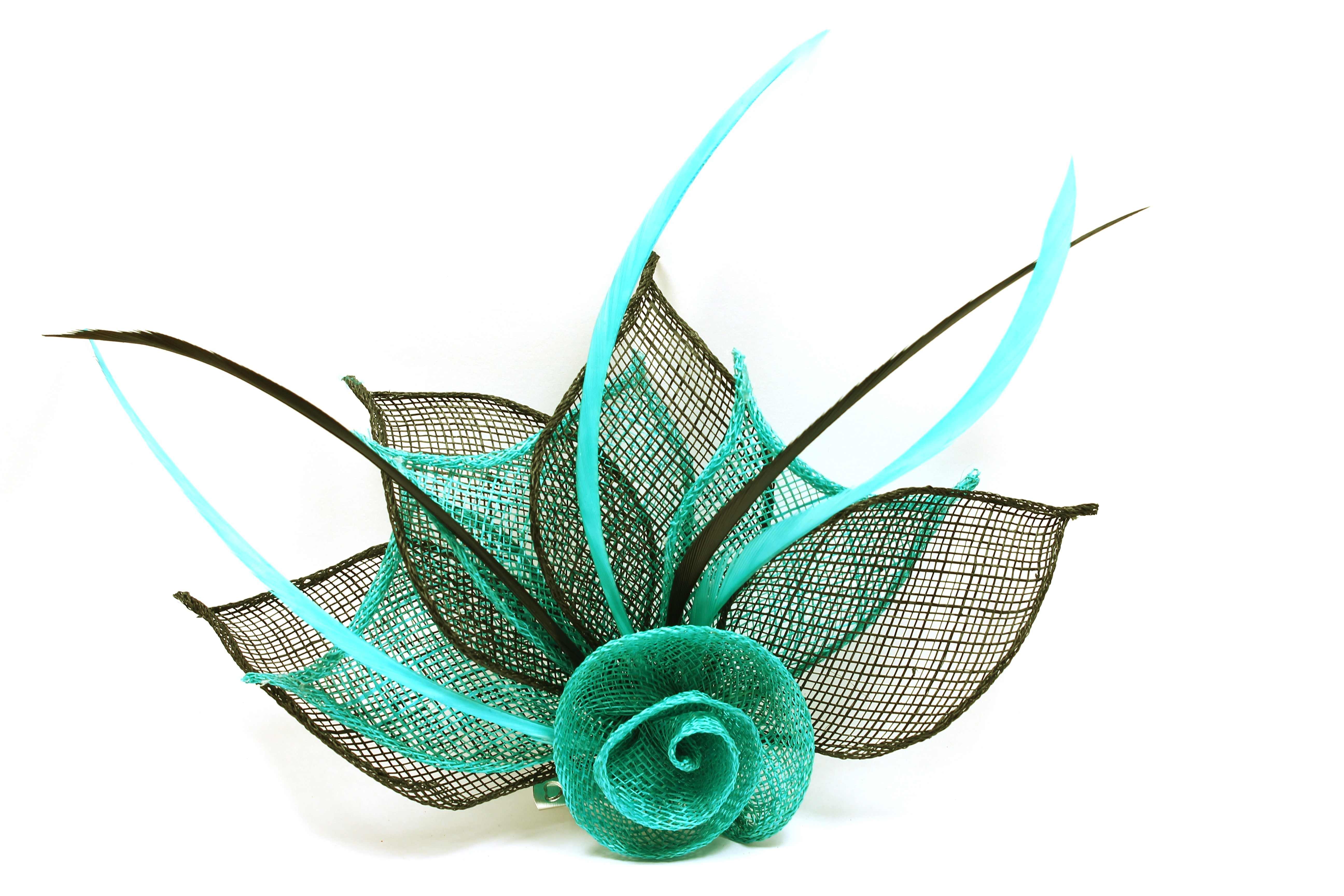 dccdfc7d42a07 Turquoise and black fascinator with hessian rose