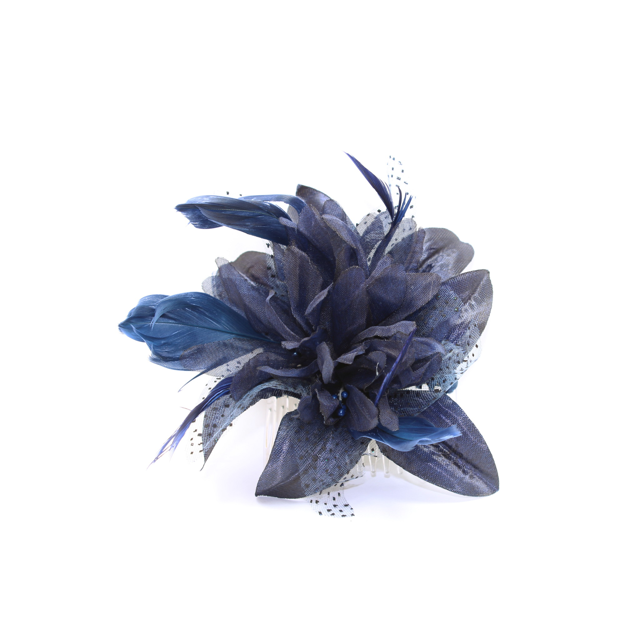 Navy blue fascinator comb with chiffon flower and feather tendrils ... fabe5202b65