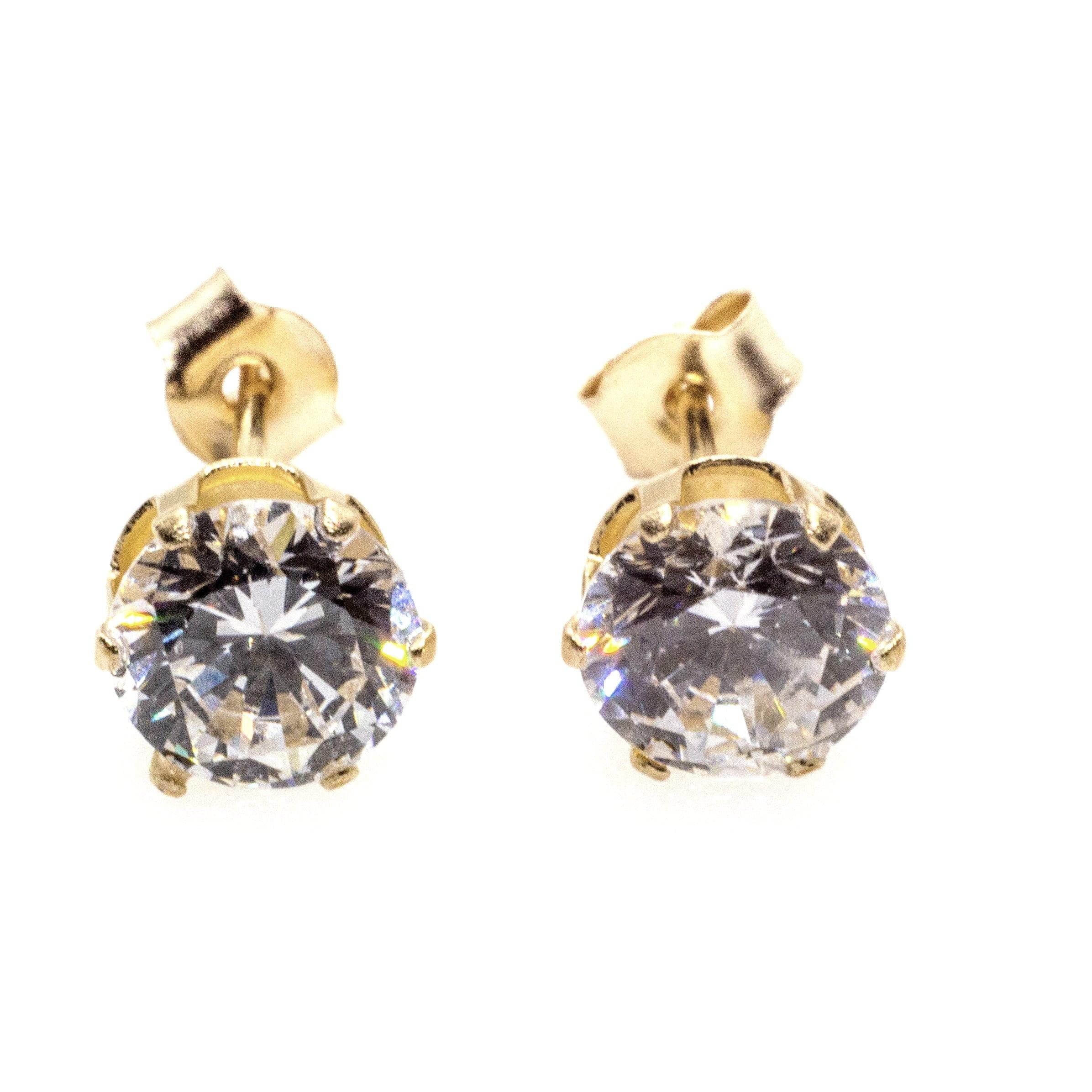 5mm CZ stud earrings 9ct yellow gold alt 1
