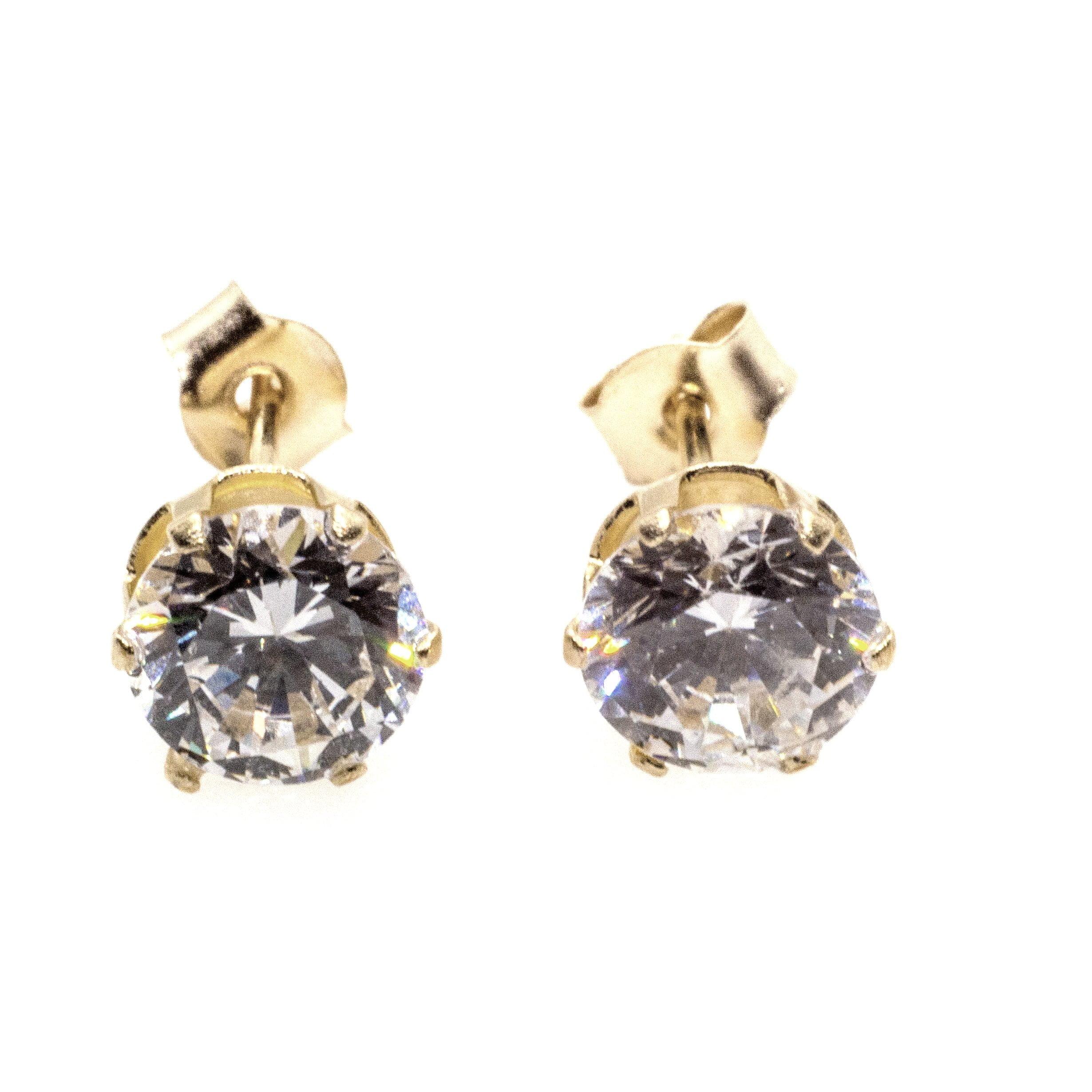 5mm CZ stud earrings 9ct yellow gold alt 2
