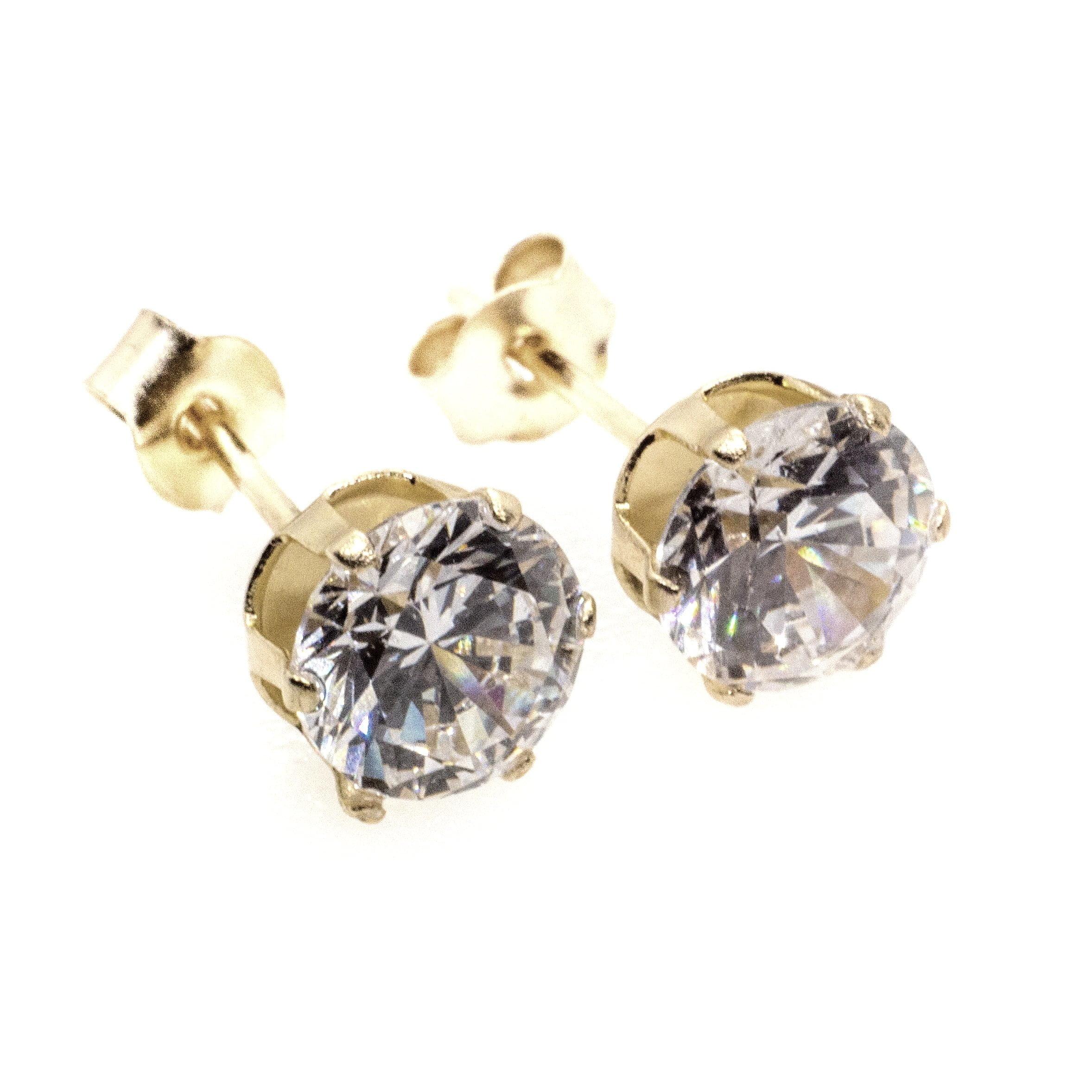 5mm CZ stud earrings 9ct yellow gold alt 3