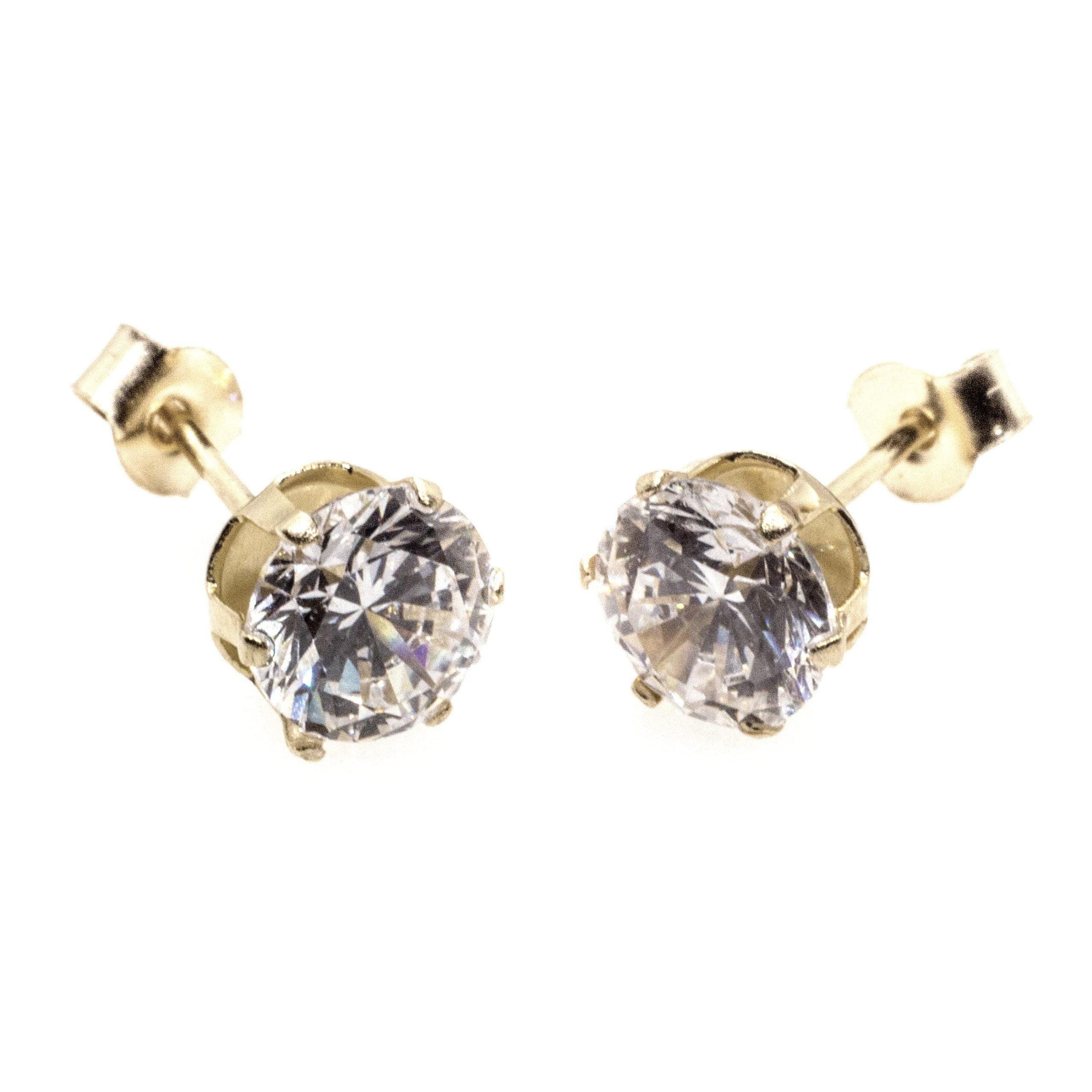 5mm CZ stud earrings 9ct yellow gold alt 4