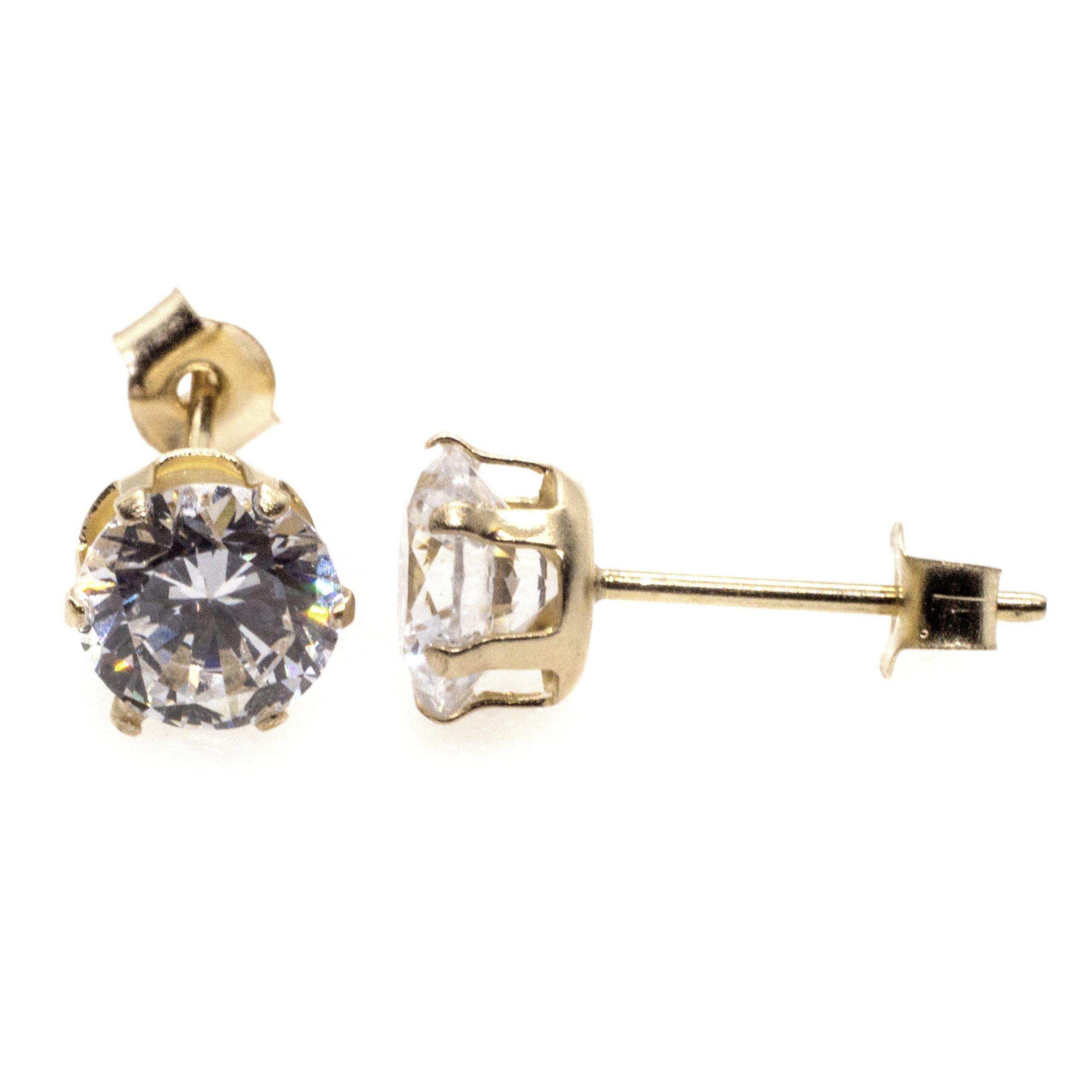 5mm CZ stud earrings 9ct yellow gold alt 5