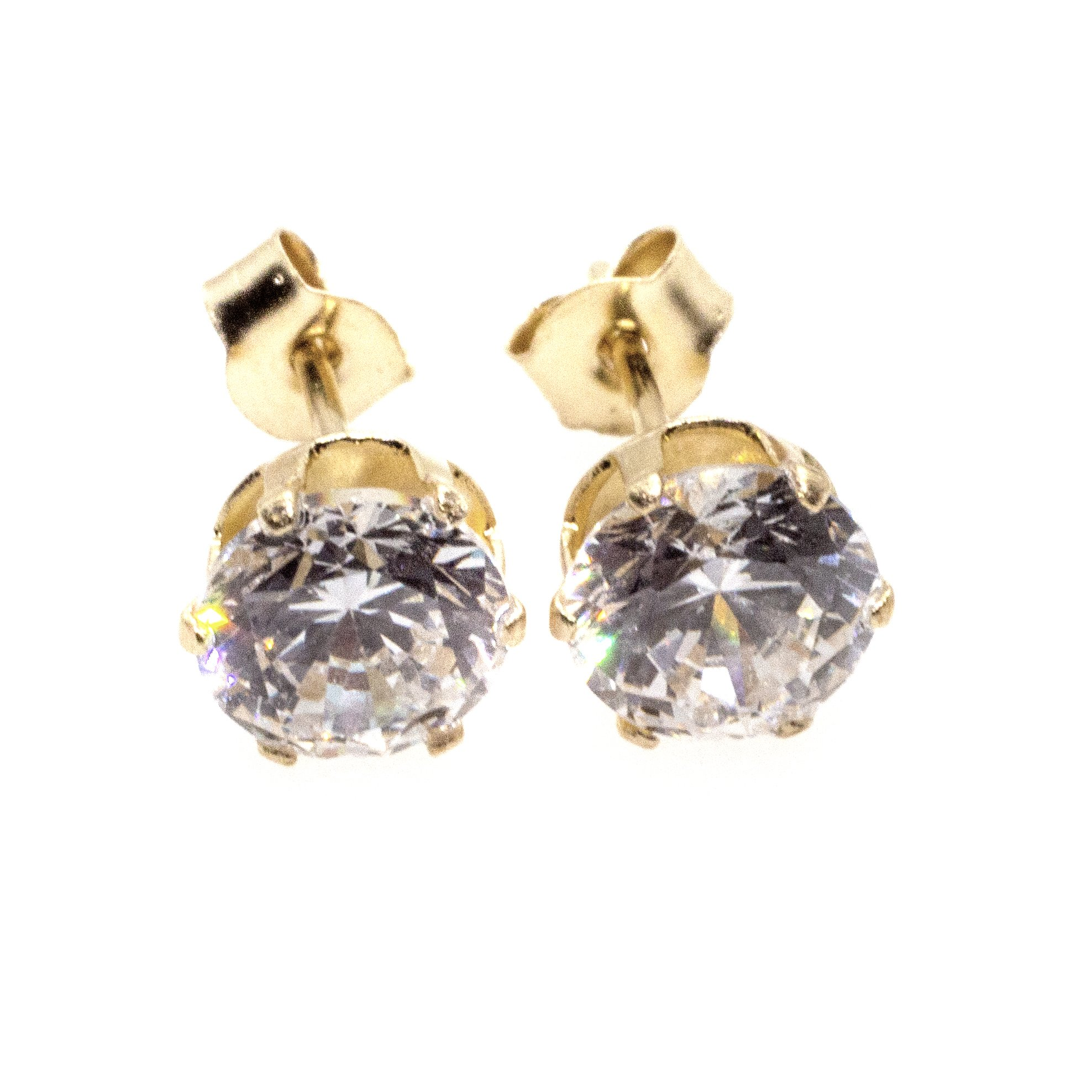 5mm CZ stud earrings 9ct yellow gold