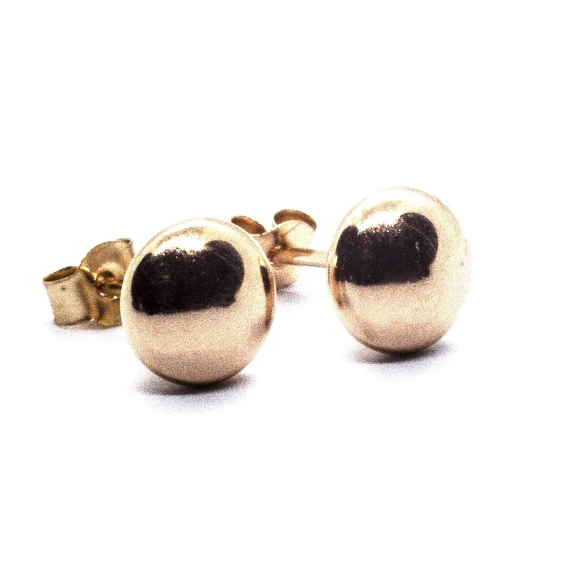 5mm yellow gold bouton earrings