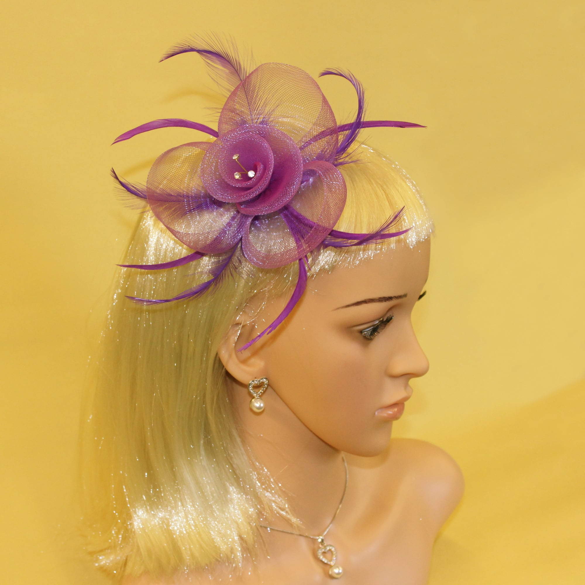 Dark blue fascinator (beak clip and pin) with feather and crystal e947d6d70f3