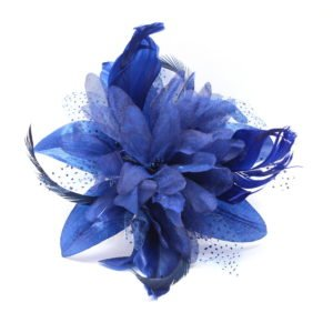 Royal blue fascinator on comb