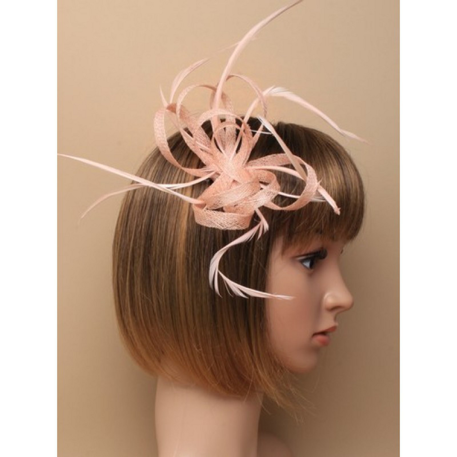 782957ab7cdab Nude pink fascinator with sinamay loops and feather tendrils (beak ...