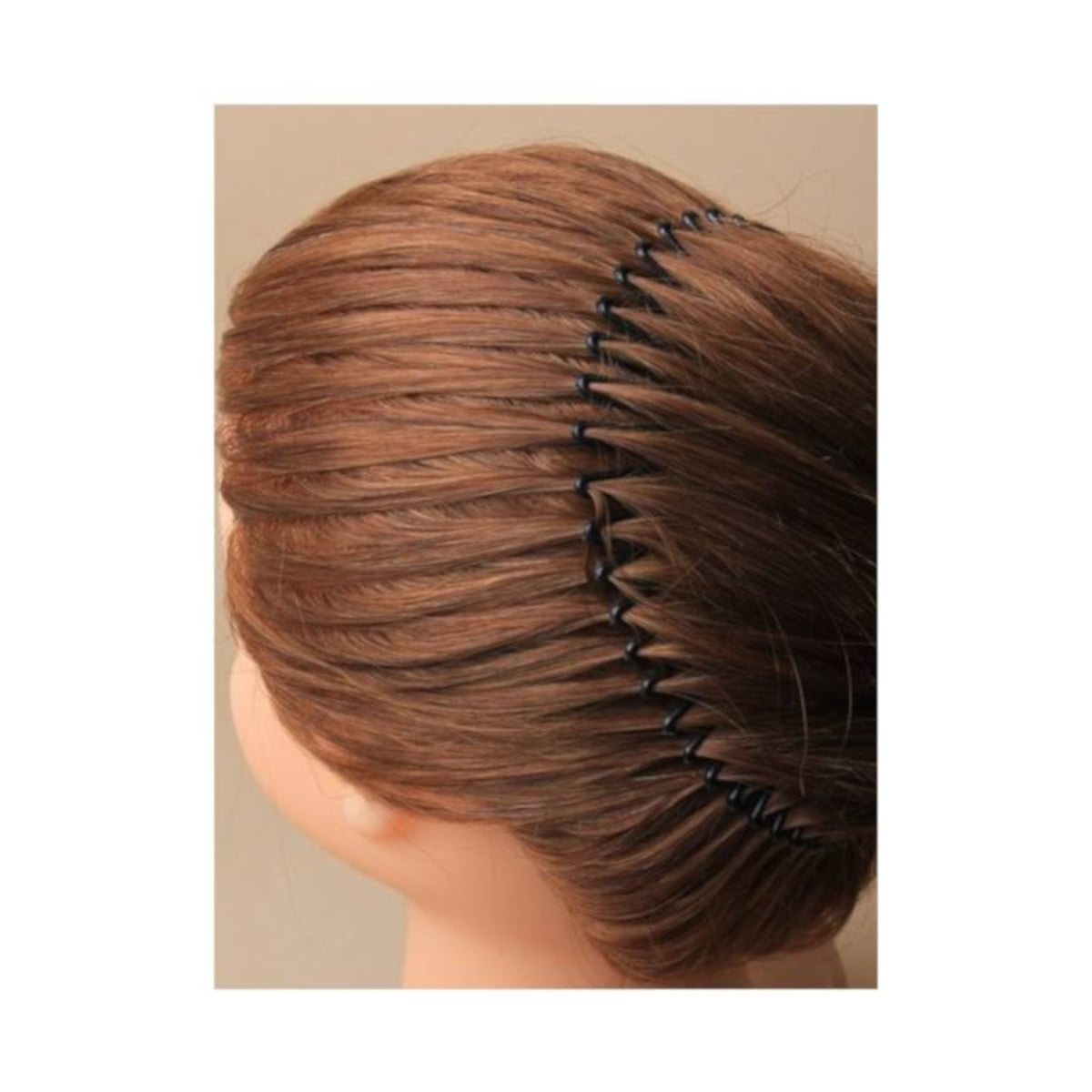 Black stretchy hair comb on model
