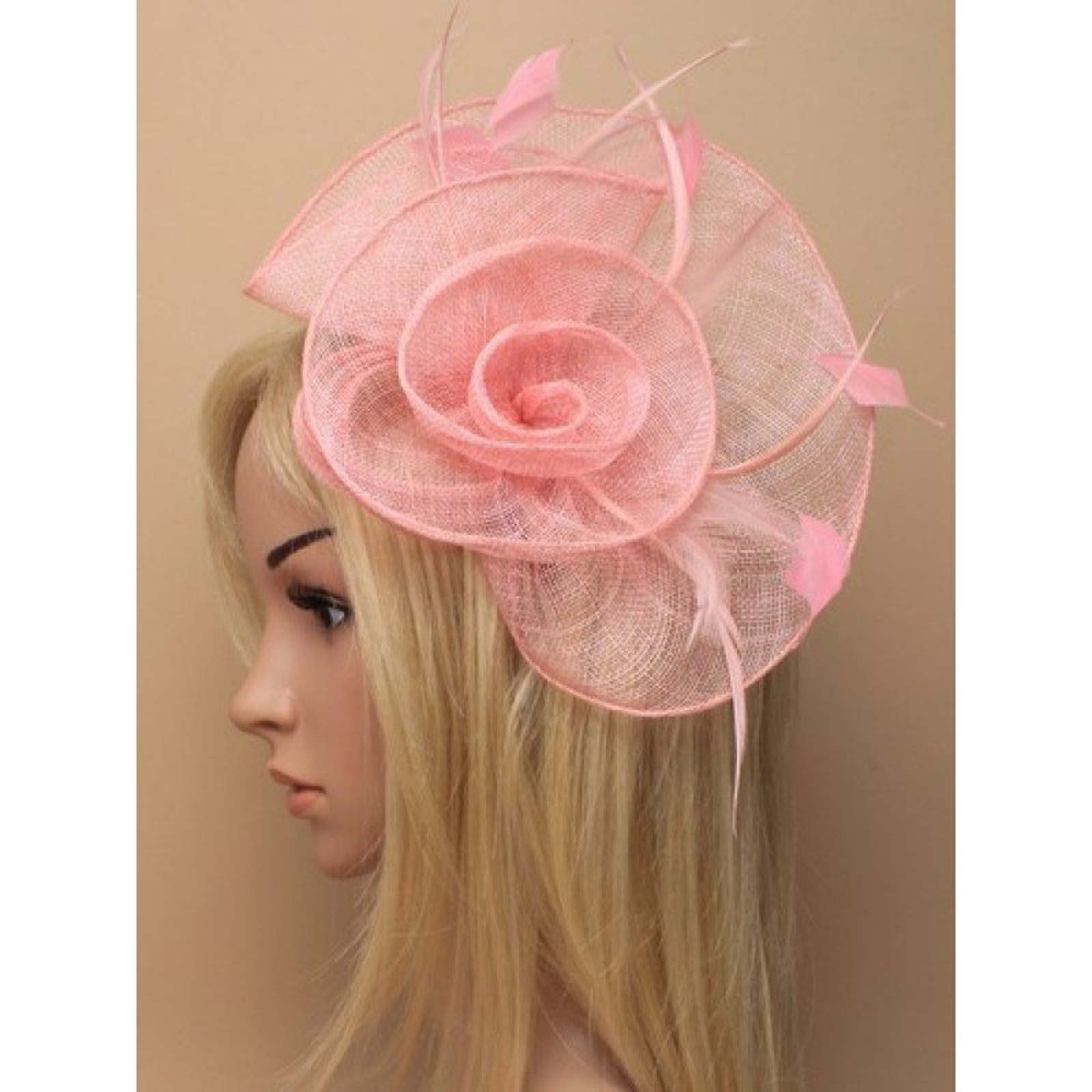 Rose Pink Fascinator on model
