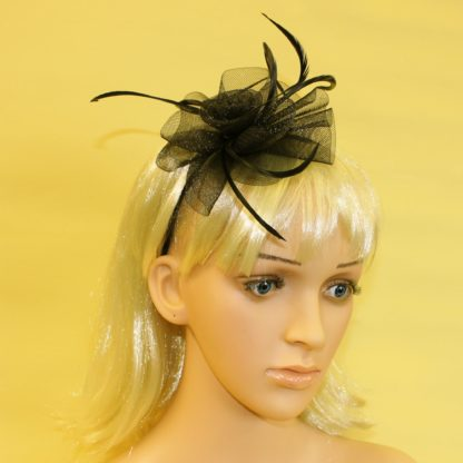 Black fascinator with sinamay flower and feather tendrils beak clip and pin