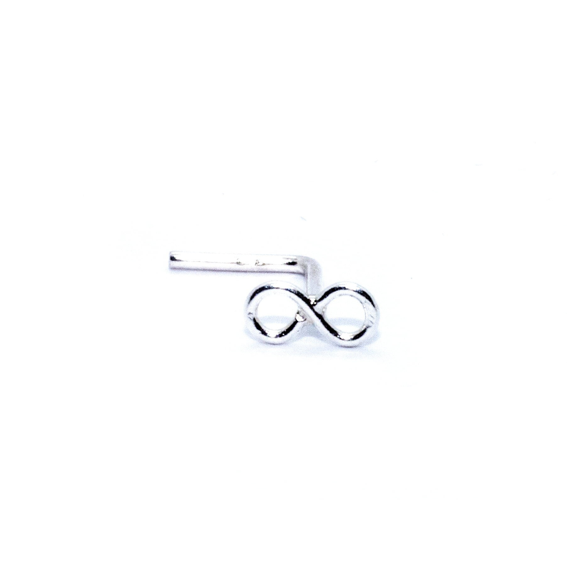 Infinity nose stud in sterling silver