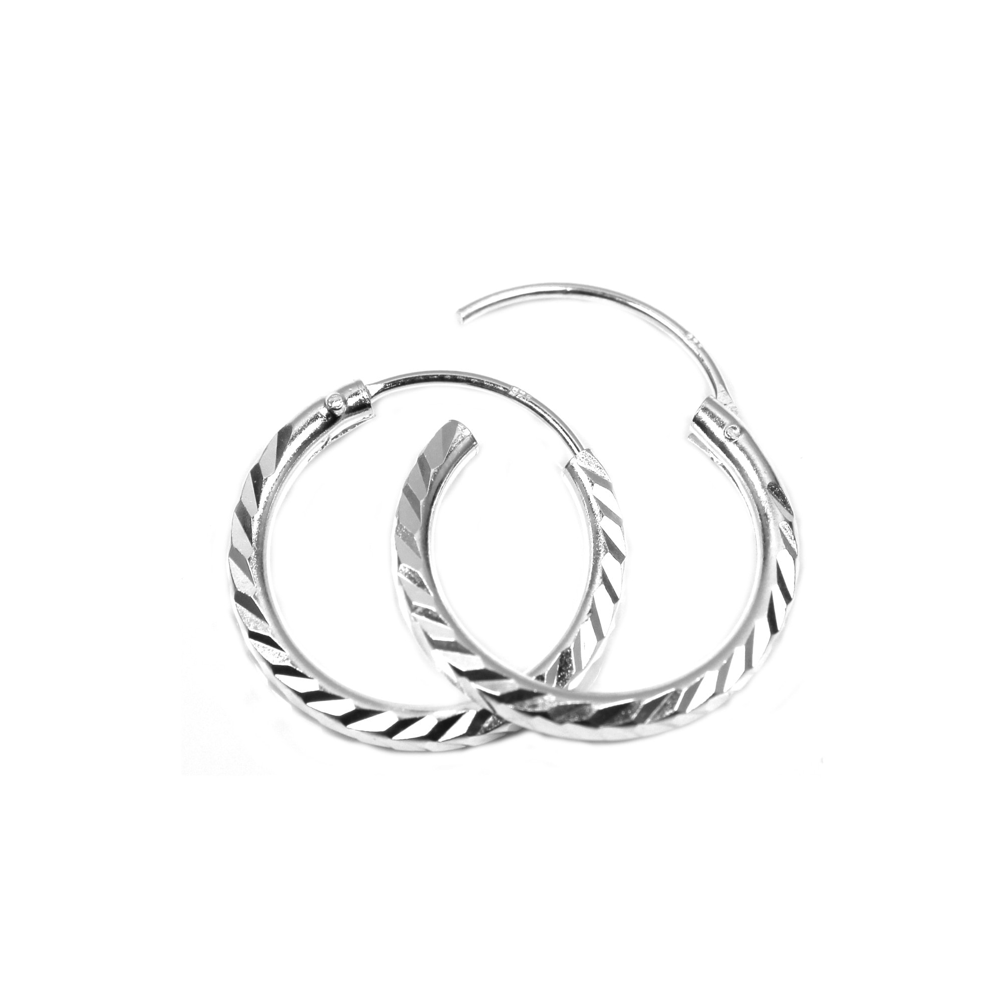 16mm diamond cut silver hoop earrings