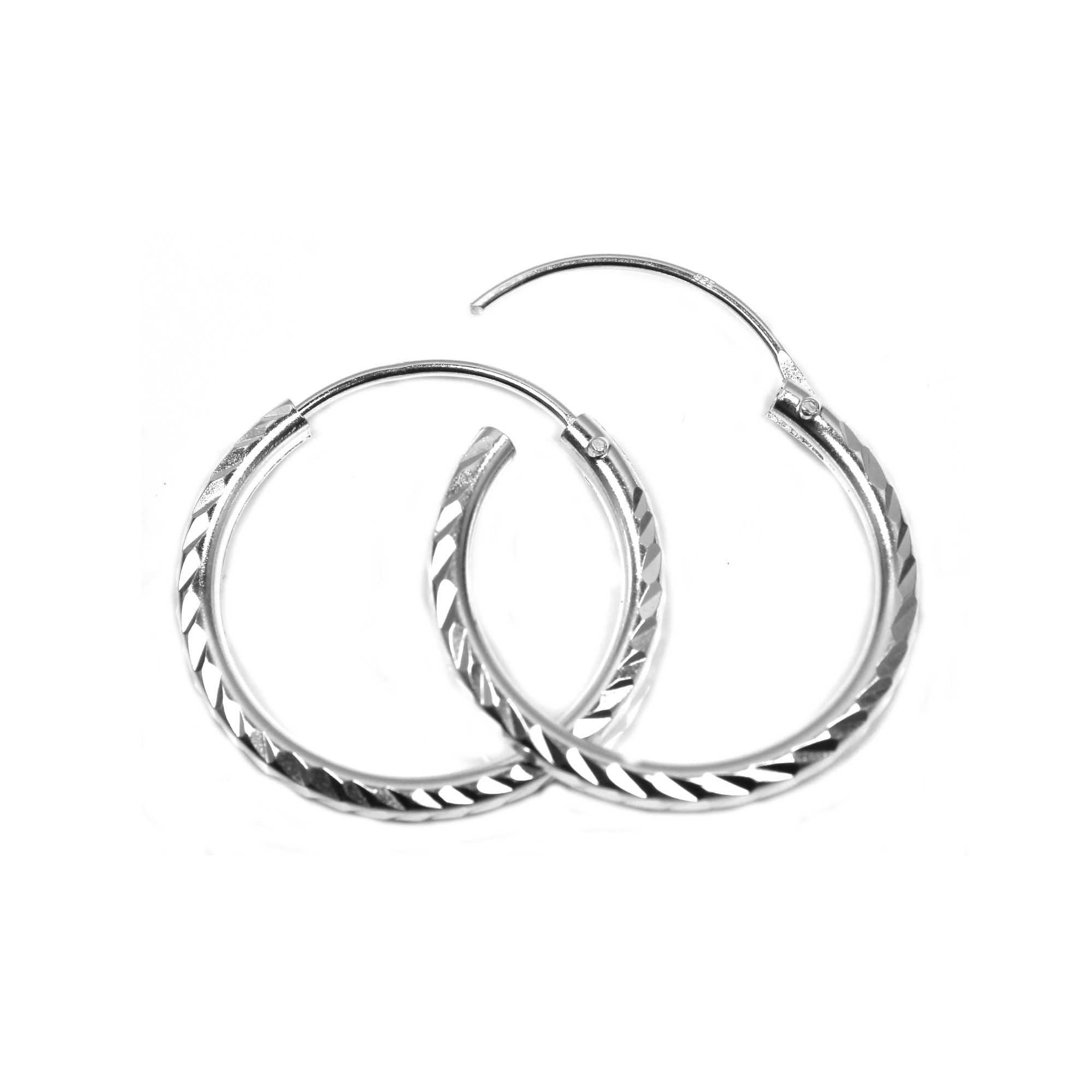 20mm silver sleeper hoops diamond cut