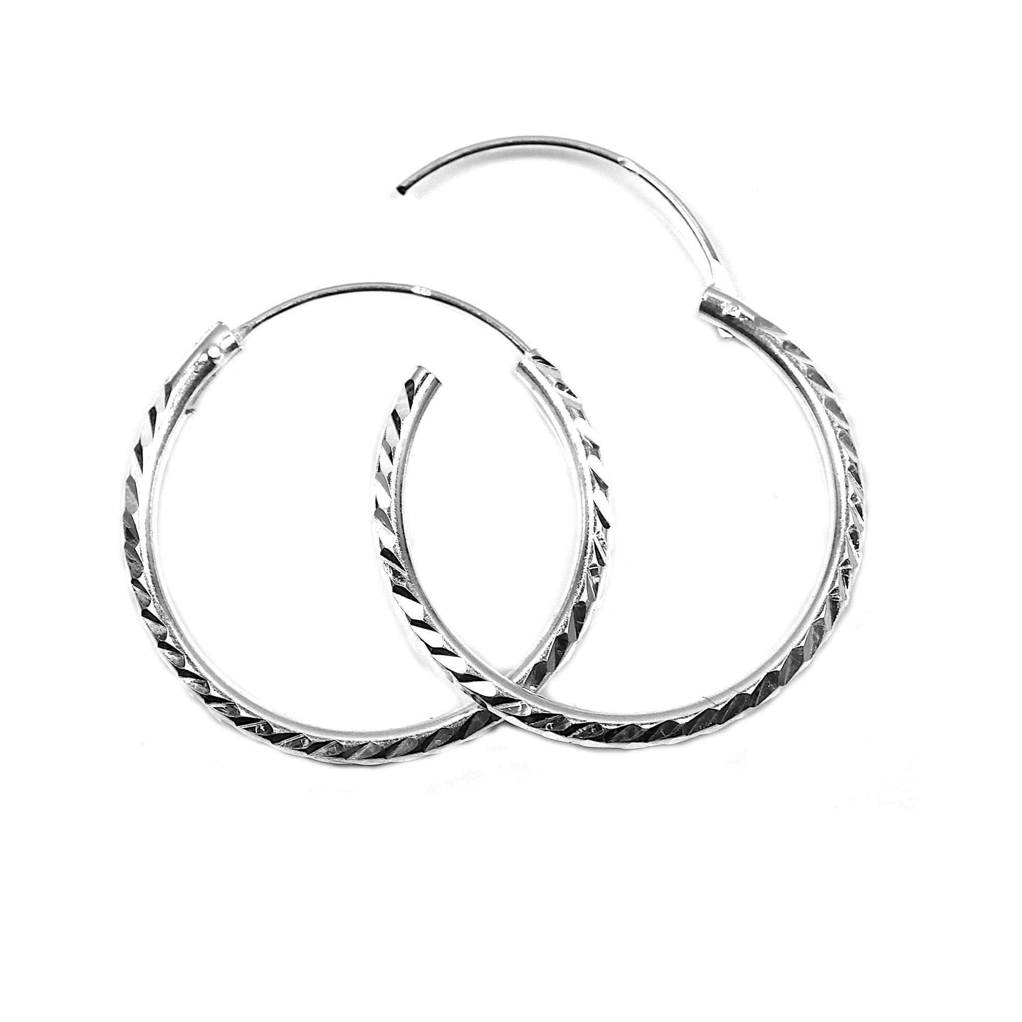 25mm silver hoop earrings diamond cut heavy weight