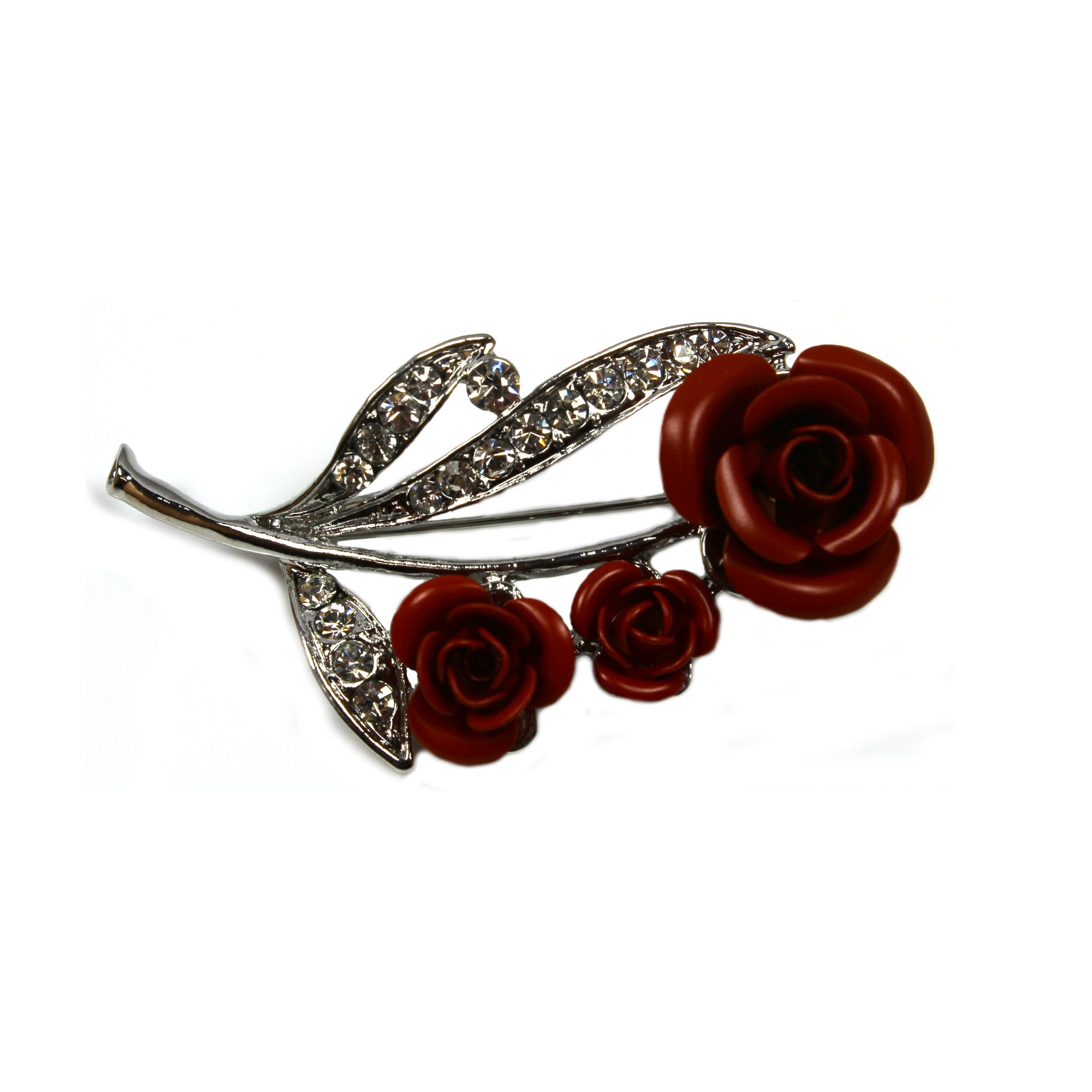 Red rose brooch with diamante leaf