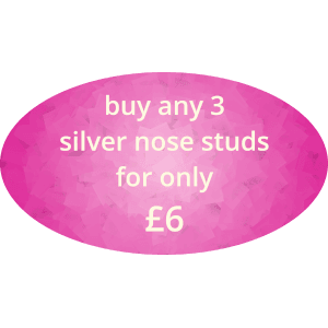 buy any 3 silver nose studs for £6