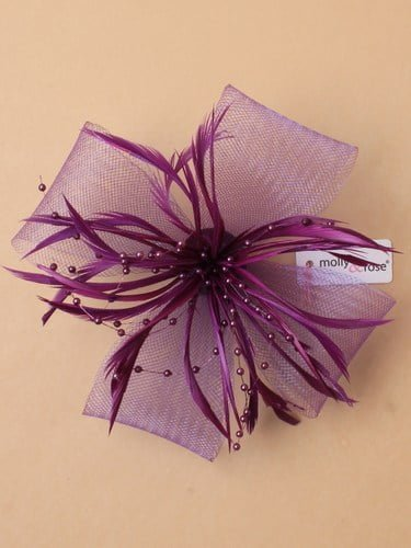 Purple fascinator with bows, feathers and beads on clip and pin. (alt 3)