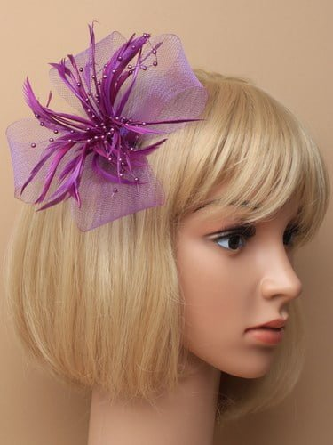 Purple fascinator with bows, feathers and beads on clip and pin. (alt 2)