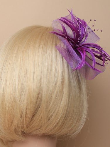 Purple fascinator with bows, feathers and beads on clip and pin. (alt 1)