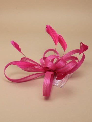 Pink fascinator on clear comb with loops and feather tendrils.