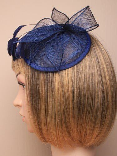 Navy blue cap style fascinator with comb and elastic fastenings. (alt 1)
