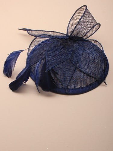 Navy blue cap style fascinator with comb and elastic fastenings. (alt 2)