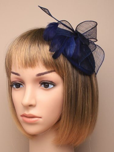 Navy blue cap style fascinator with comb and elastic fastenings. (alt 3)