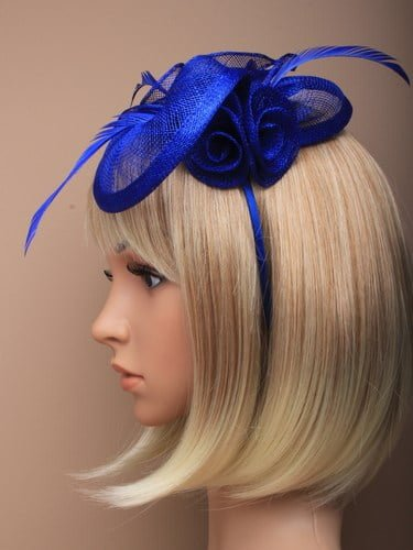 Royal blue fascinator with feathers and flowers on aliceband. (alt 1)