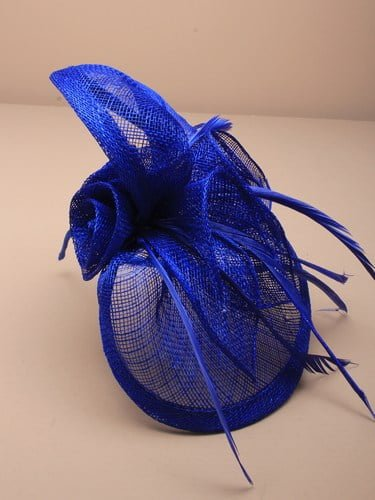 Royal blue fascinator with feathers and flowers on aliceband. (alt 2)