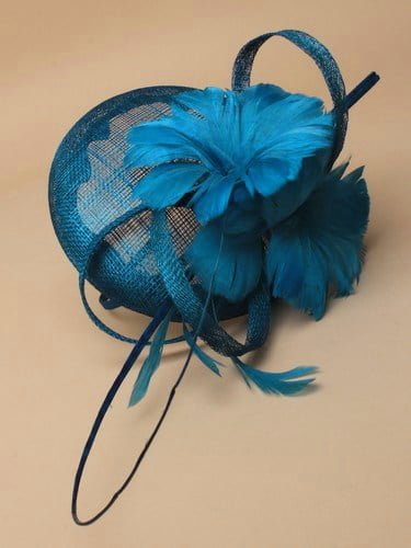 Kingfisher blue fascinator with feather flowers and quill on aliceband. (alt 1)