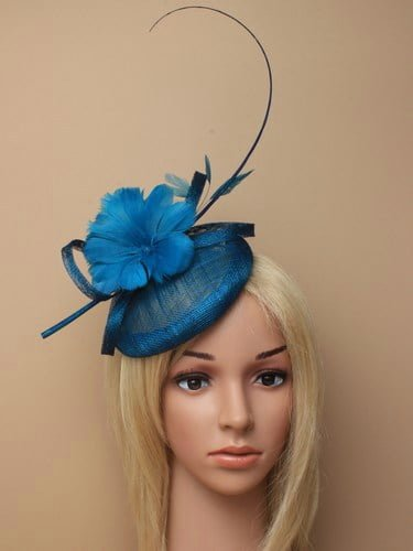 Kingfisher blue fascinator with feather flowers and quill on aliceband. (alt 2)