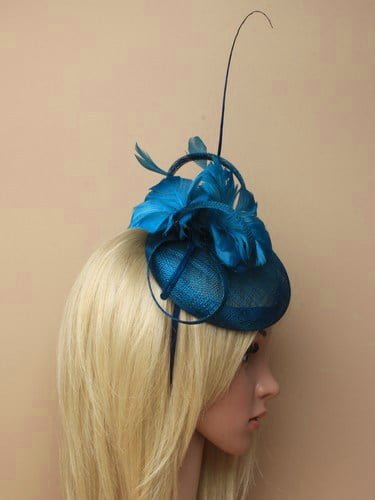 Kingfisher blue fascinator with feather flowers and quill on aliceband. (alt 3)
