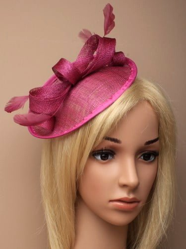 Pink fascinator with bow and feathers on aliceband. (alt 1)